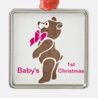 Floral Brown Bear with Pink Bow Tie Metal Ornament