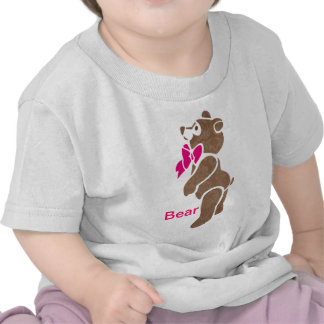 Floral Brown Bear with Pink Bow Tie Tee Shirt