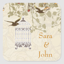 floral brown bird cage, love birds envelope seal