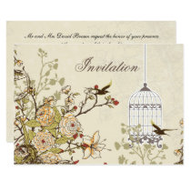 floral brown bird cage, love birds invites