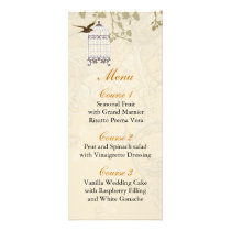 floral brown bird cage, love birds Menu Cards