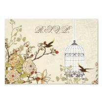 floral brown bird cage, love birds RSVP 3.5 x 5 Card