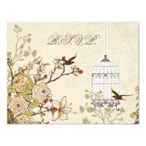 floral brown bird cage, love birds RSVP Card