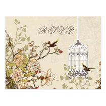 floral brown bird cage, love birds RSVP Postcard