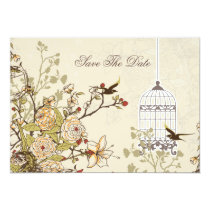 floral brown bird cage, love birds save the dates card