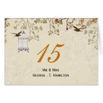 floral brown bird cage, love birds table numbers card