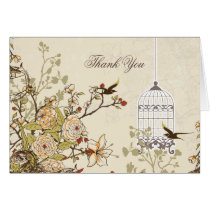 floral brown bird cage, love birds Thank You Card