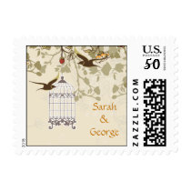 floral brown bird cage, love birds wedding stamps