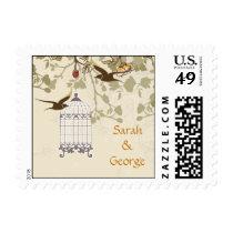 floral brown bird cage, love birds wedding stamps