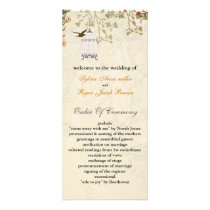 floral brown birds cage, birds wedding programs