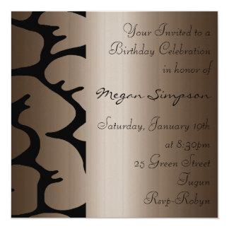 Floral Brown Birthday Invitation