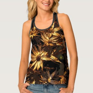 Floral Brown Gold Dried Flower Abstract Tank Top