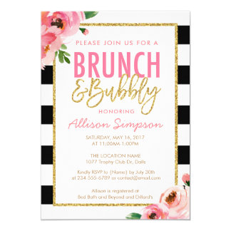 Floral Brunch and Bubbly Bridal Shower Invitation