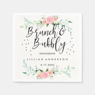 Floral Brunch and Bubbly Bridal Shower Napkin