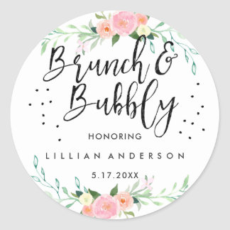 Floral Brunch and Bubbly Bridal Shower Sticker
