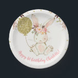 """Floral Bunny Birthday Party Paper Plate<br><div class=""""desc"""">Floral Bunny Birthday Party Paper Plate  Cute bunny and faux gold balloon and dots birthday party plate.  Some design birthday invitation is also available at the store.</div>"""