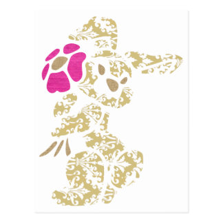 Floral Bunny Rabbit with Flower Postcard