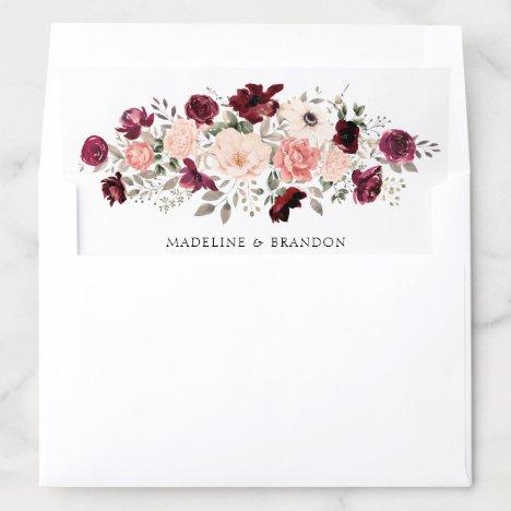 Floral Burgundy Blush Bride & Groom Envelope Liner