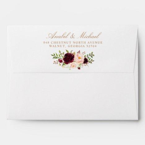 Floral Burgundy Blush Elegant Gold Return Address Envelope