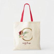 """Floral Burgundy Blush Gold Monogram Letter """"C"""" Tote Bag"""