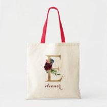 """Floral Burgundy Blush Gold Monogram Letter """"E"""" Tote Bag"""