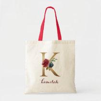 """Floral Burgundy Blush Gold Monogram Letter """"K"""" Tote Bag"""