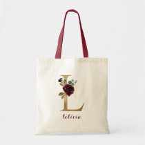 """Floral Burgundy Blush Gold Monogram Letter """"L"""" Tote Bag"""