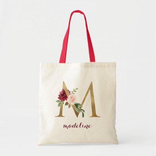 Floral Burgundy Blush Gold Monogram Letter M Tote Bag
