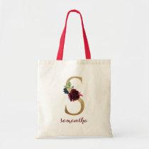 """Floral Burgundy Blush Gold Monogram Letter """"S"""" Tote Bag"""