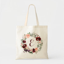 Floral Burgundy Blush Greenery Wreath Tote Bag