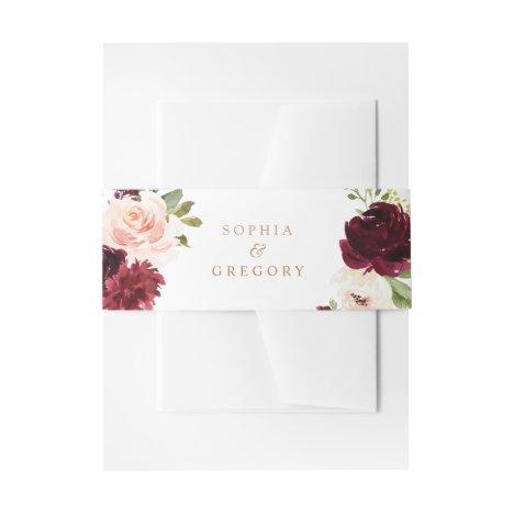 Floral Burgundy Blush Merlot Elegant Invitation Belly Band