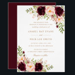 "Floral Burgundy Blush Modern Elegant Wedding Invitation<br><div class=""desc"">Floral Burgundy Blush Modern Elegant Wedding Invitation</div>"