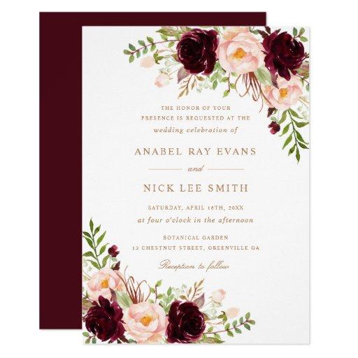Floral Burgundy Blush Modern Elegant Wedding Invitation