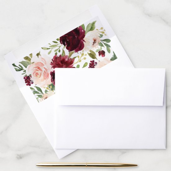 Floral Burgundy Blush Watercolor Merlot Elegant Envelope Liner