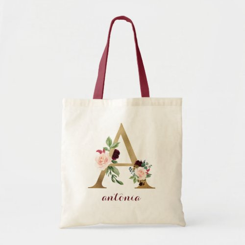 Floral Burgundy Gold Blush Personalized Letter A Tote Bag