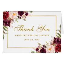Floral Burgundy Gold Bridal Shower Thanks Note