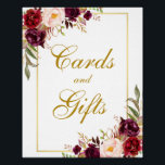"Floral Burgundy Gold Wedding Cards Gifts Poster<br><div class=""desc"">Watercolor Floral Burgundy Marsala Gold Wedding Cards &amp; Gifts Poster</div>"