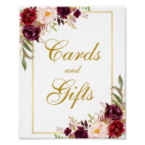 Floral Burgundy Gold Wedding Cards Gifts Poster