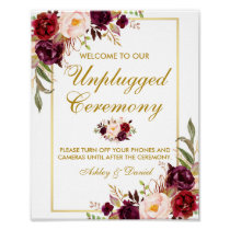 Floral Burgundy Gold Wedding Ceremony Unplugged Poster