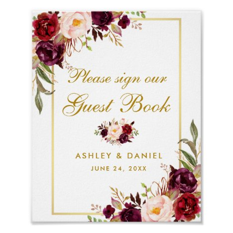 Floral Burgundy Gold Wedding Guest Book Poster