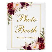 Floral Burgundy Gold Wedding Photo Booth Poster