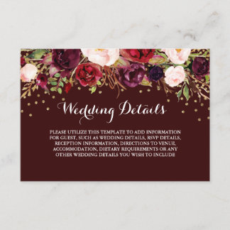 Floral Burgundy Gold Wedding Reception Details Enclosure Card