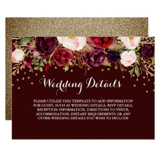 Floral Burgundy Gold Wedding Reception Details Invitation