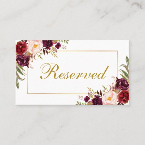 Floral Burgundy Gold Wedding Reserved Place Card