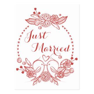 Floral Burgundy Just Married Red Lovebirds Wedding Postcard