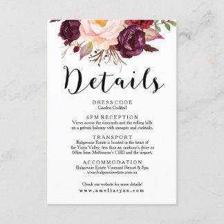 Floral Burgundy Marsala Wedding Details Card