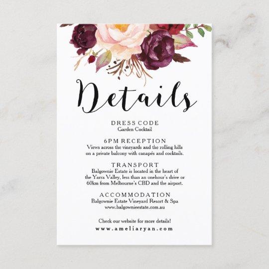 floral burgundy marsala wedding details card  zazzle
