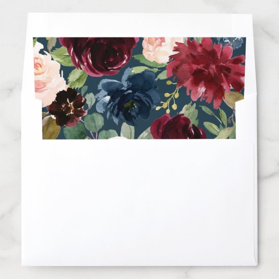 Floral Burgundy Navy Blush Boho Watercolor Envelope Liner