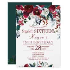 Floral burgundy pine green winter sweet sixteen card