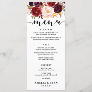 wedding menus zazzle
